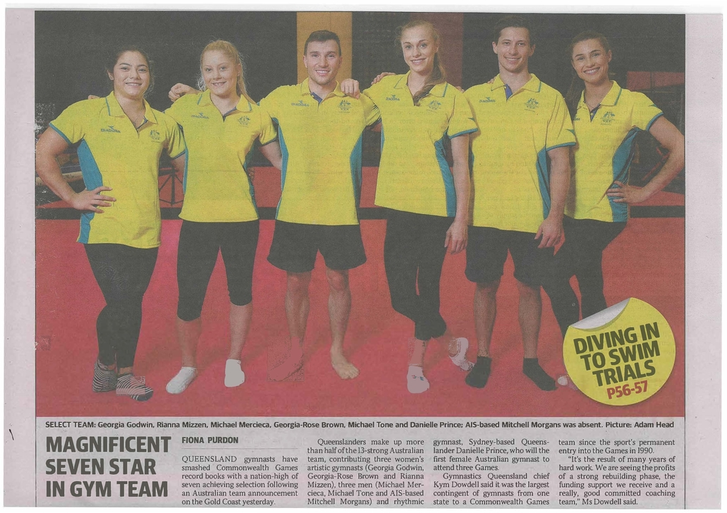 3 Holland Park Past Students in QLD Gymnastics Team